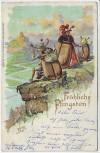 Präge-AK Fröhliche Pfingsten Maikäfer Familie Aussicht 1901