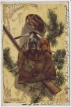 Präge-AK Prosit Neujahr 2 Hunde Dackel im Rucksack Gewehr Goldrand 1906