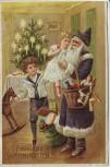 Präge-AK Fröhliche Weihnachten Weihnachtsmann Kinder Geschenke Weihnachtsbaum 1913