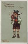 Künstler-AK Herzlichen Glückwunsch zum Geburtstag Junge in Lederhose E. Döcker 1905