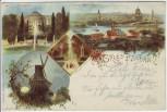 AK Litho Gruss aus Potsdam Panorama Mühle Sanssouci 1899