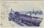 AK Frankfurt am Main Ortsansicht mit Brücke und Kirchen 1898