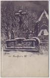 Künstler-AK Gruss aus Frankfurt am Main Peterskirchhof im Winter Peterskirche 1900 RAR
