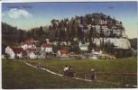 AK Oybin Ortsansicht mit Berg Lausitzer Gebirge 1917