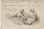 Künstler-AK 2 Kinder Flöte Eier Jugendstil M. M. Vienne Nr. 258 1900