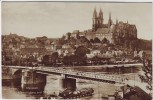 AK Foto Meissen Albrechtsburg und Dom mit Brücke Schiff 1927