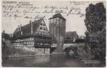 AK Nürnberg Weinstadel mit Henkersteg Glafey-Nachtlichte-Karte Nr. 2 1913