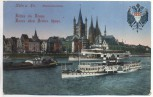 AK Köln am Rhein Rheinpanorama mit Wappen und Schiffen Feldpost Reservelazarett Achelriede 1916