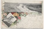 AK Litho Fernblick vom Plateau Drachenfels auf das Rheintal Königswinter 1899