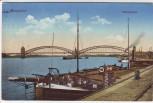 AK Düsseldorf Rheinbrücke mit Schiff 1915