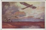 Künstler-AK Militärtaube Erkundungsflug bei den Masurischen Seen Deutscher Luftflotten-Verein 1917