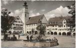 AK Foto Freudenstadt im Schwarzwald Marktplatz mit Rathaus und Neptun-Brunnen 1960