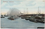 VERKAUFT !!!   AK Hamburg Hafenpartie mit Schiffen 1910
