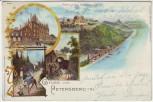 Litho Königswinter Gruss vom Hotel auf dem Petersberg am Rhein 1897