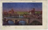 AK Lunakarte Lauffen am Neckar Ortsansicht mit Kirche und Rathaus 1906