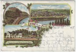 Litho Werden an der Ruhr Gruss von der Platte Restauration Kreuzenbeck Essen 1898