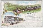Litho Gruss aus Neudorf im Rheingau Gasthaus zur Post Eisenbahn Totale Martinsthal Eltville 1899 RAR