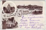 AK Litho Gruss aus Vohburg an der Donau Totale Gasthof zur Post 1902
