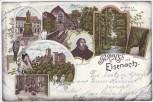 Litho Gruss aus Eisenach Luther Wartburg Hohe Sonne ... 1897