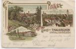 AK Litho Gruss aus Thalkirchen München Station der Isarthalbahn 3 Ansichten 1913 RAR