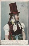 AK Volkstracht aus dem Elztal Schwarzwald Frau mit Zylinder 1906
