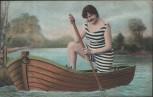 AK Frau mit Badeanzug rudernd auf Boot Erotik 1910