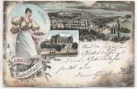 VERKAUFT !!!       Litho Gruss aus Rudolstadt Kellnerin bei Boucher mit Rudolsbad 1897 RAR