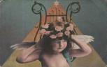 AK Kind als Engel mit Rosenkranz 1910