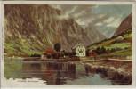 Künstler-AK Gudvangen Ortsansicht bei Aurland Sogn og Fjordane Norwegen 1900
