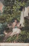 AK Frau entkleidet sich im Wald Erotik 1910