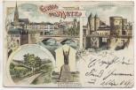 Litho Gruss aus Metz 4 Bilder Moselle Lothringen Frankreich Soldatenkarte 1909