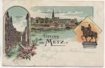 Litho Gruss aus Metz 3 Bilder Moselle Lothringen Frankreich 1908
