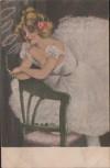 AK Frau rauchend auf Stuhl Blume im Haar Erotik 1910