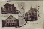 AK Gruss aus Sundheim Bahnhof Schule Gasthaus bei Kehl 1919 RAR