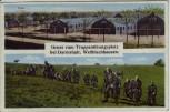 AK Gruss vom Truppenübungsplatz Wellblechhausen Soldaten bei Darmstadt Griesheim 1921