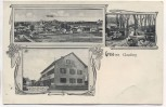 VERKAUFT !!!         AK Gruss aus Gauting 3 Bilder Totale Gasthaus Gautinger Hof Gastgarten 1914 Sammlerstück RAR