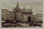 AK Foto Rostock Markt und Marienkirche Straßenbahn 1931