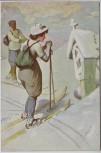 Künstler-AK W.H. Braun Frau auf Ski Wintersport Jugendstil Verlag W.R.B.&Co. Vienne Serie Nr. 22-16 1920 RAR