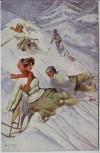 Künstler-AK W.H. Braun Frau Mann Schlitten Wintersport Jugendstil Verlag W.R.B.&Co. Vienne Serie Nr. 22-16 1920 RAR