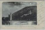 Mondschein-AK Mäuseturm und Ruine Ehrenfels bei Rüdesheim am Rhein 1901