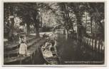 AK Foto Kahnabfahrtstelle Straupitz im Spreewald Frauen mit Trachten b. Lieberose 1931