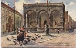 Künstler-AK München Alte Residenz und Feldherrnhalle Kindl mit Tauben 1915