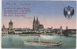 AK Köln am Rhein Rheinpanorama mit Gedicht von Heine und Wappen Feldpost 1916