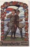 AK Jugendwehr auf dem Marsch mit Fahne und Trommel 1912