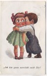 Künstler-AK 2 Kinder Ich bin ganz verrückt nach Dir ! 1913