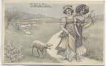 Künstler-AK Jugendstil Fröhliche Ostern 2 Frauen mit Lamm Verlag: V.K. Vienne 4106 1910