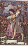 Künstler-AK Jugendstil Motiv Mann und Frau vor München Ottmar Zieher 1910
