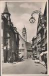 AK Ravensburg Marktstraße mit Auto und Menschen 1950