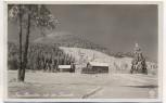 AK Foto Gaststätte Neubrasilien Neu-Brasilien mit der Lausche im Winter Niederlichtenwalde Dolní Světlá b. Großmergthal Mařenice Sudetengau Tschechien 1935 RAR