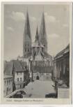 AK Lübeck Schrangen-Freiheit mit Marienkirche Feldpost 1942